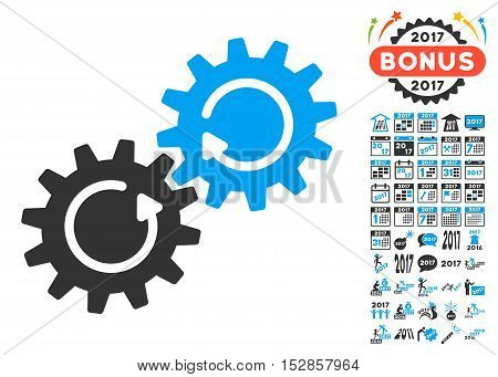 Gear Mechanism Rotation icon with bonus 2017 new year symbols. Vector illustration style is flat iconic symbols, modern colors, rounded edges.