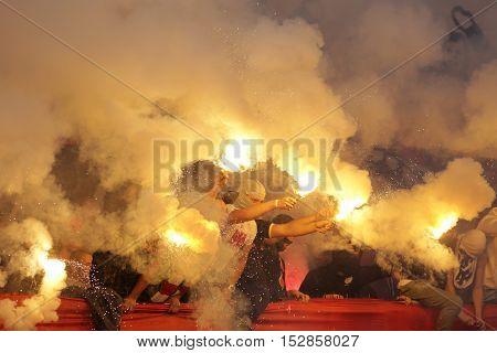 Football Fans Fire. Hooligans