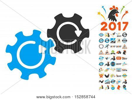 Gears Rotation icon with bonus 2017 new year pictures. Vector illustration style is flat iconic symbols, modern colors, rounded edges.