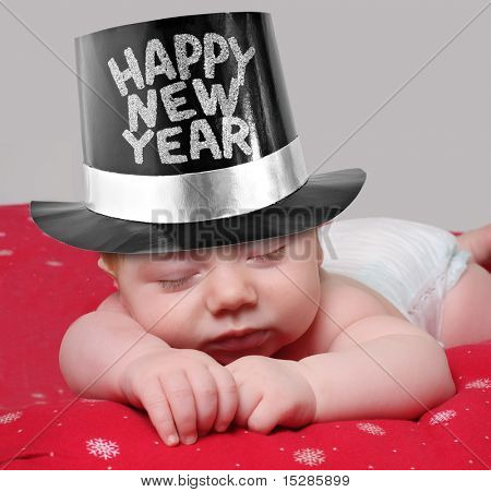 Slaperig new year baby