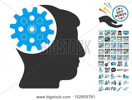 Head Gear pictograph with bonus 2017 new year icon set. Vector illustration style is flat iconic symbols, modern colors, rounded edges.