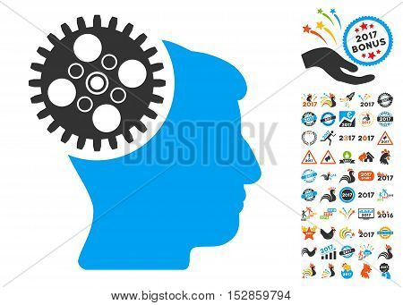 Head Gearwheel pictograph with bonus 2017 new year icon set. Vector illustration style is flat iconic symbols, modern colors, rounded edges.