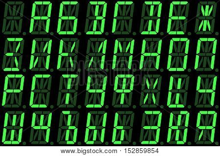 Digital Cyrillic font from capital letters on green alphanumeric LED display isolated on black background