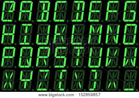 Digital font from capital letters on green alphanumeric LED display isolated on black background