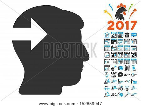 Head Plug-In Arrow pictograph with bonus 2017 new year icon set. Vector illustration style is flat iconic symbols, modern colors, rounded edges.