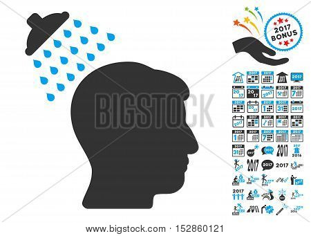 Head Shower pictograph with bonus 2017 new year pictures. Vector illustration style is flat iconic symbols, modern colors, rounded edges.