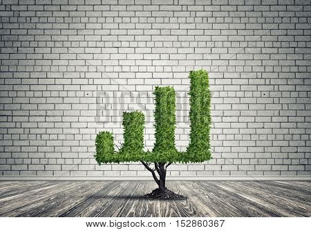 Market growth and success as growing green tree in shape of graph, 3D rendering