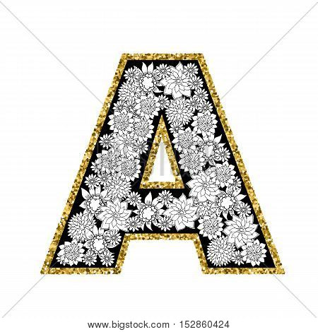 Hand drawn floral alphabet design. Gold glittering contour. Letter A. Vector EPS8 illustration.