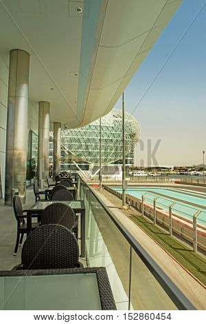 ABU DHABI, UAE - OCTOBER 08, 2016 The exterior of The Viceroy Hotel on Yas Marina island in Abu Dhabi overlooking the Formula One Grand Prix Racing track circuit