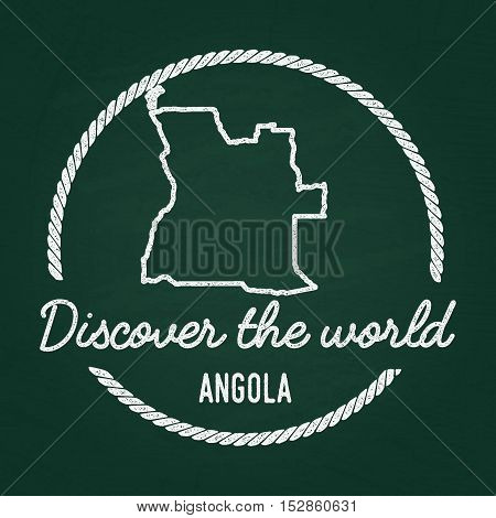 White Chalk Texture Hipster Insignia With People's Republic Of Angola Map On A Green Blackboard. Gru
