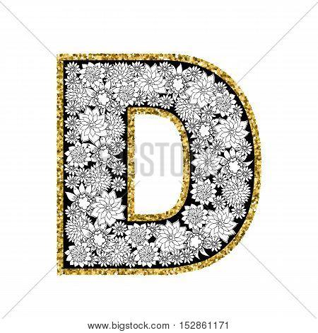 Hand drawn floral alphabet design. Gold glittering contour. Letter D. Vector EPS8 illustration.