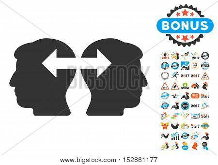 Heads Exchange Arrows pictograph with bonus 2017 new year clip art. Vector illustration style is flat iconic symbols, modern colors, rounded edges.