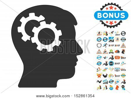 Intellect Gears icon with bonus 2017 new year pictures. Vector illustration style is flat iconic symbols, modern colors, rounded edges.