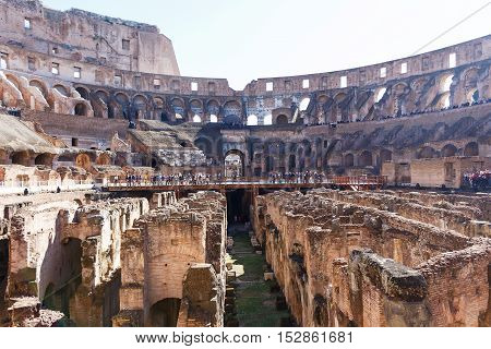ROME, ITALY - OCTOBER 12, 2016: Photo of ruins of the colosseum
