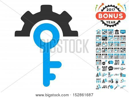 Key Options pictograph with bonus 2017 new year clip art. Vector illustration style is flat iconic symbols, modern colors, rounded edges.