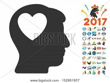 Love Heart Think icon with bonus 2017 new year graphic icons. Vector illustration style is flat iconic symbols, modern colors, rounded edges.