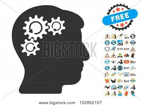 Mind Gear Rotation icon with bonus 2017 new year symbols. Vector illustration style is flat iconic symbols, modern colors, rounded edges.