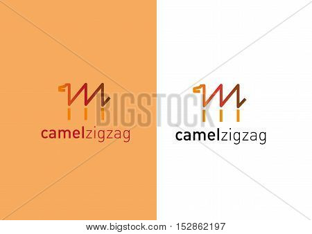 Developing creative logo. Camel in the form of a zigzag.