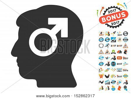 Mind Potency pictograph with bonus 2017 new year pictograph collection. Vector illustration style is flat iconic symbols, modern colors, rounded edges.