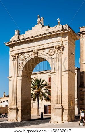 Royal Gate or Arch of Porta Reale in Noto Sicily Italy.