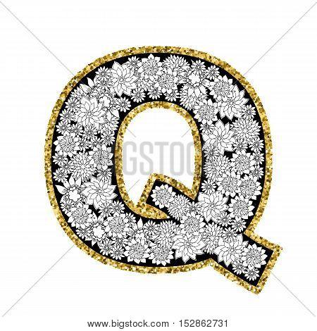 Hand drawn floral alphabet design. Gold glittering contour. Letter Q. Vector EPS8 illustration.