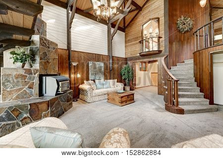 Modern Wooden Cottage Interior With Living Room Close Up