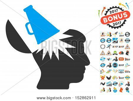 Open Brain Megaphone icon with bonus 2017 new year graphic icons. Vector illustration style is flat iconic symbols, modern colors, rounded edges.