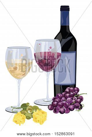 Bottle of red wine with grapes and piece of cheese. Food background Vector