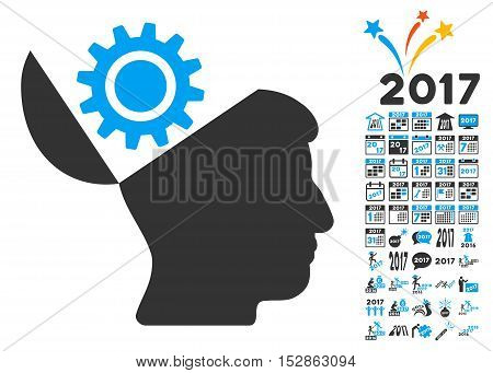 Open Head Gear pictograph with bonus 2017 new year graphic icons. Vector illustration style is flat iconic symbols, modern colors, rounded edges.