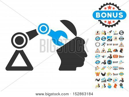 Open Head Surgery Manipulator pictograph with bonus 2017 new year pictures. Vector illustration style is flat iconic symbols, modern colors, rounded edges.