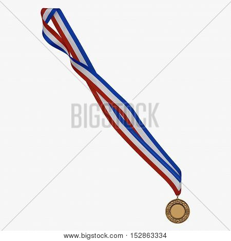 Bronze medal with tricolor ribbon on white background. 3D illustration