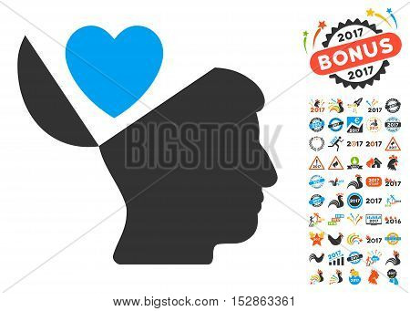 Open Mind Love Heart icon with bonus 2017 new year pictograph collection. Vector illustration style is flat iconic symbols, modern colors, rounded edges.