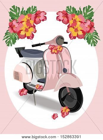 Pink Motor Scooter with flowers Vector illustration. Vintage Retro style bike