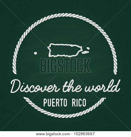 White Chalk Texture Hipster Insignia With Commonwealth Of Puerto Rico Map On A Green Blackboard. Gru