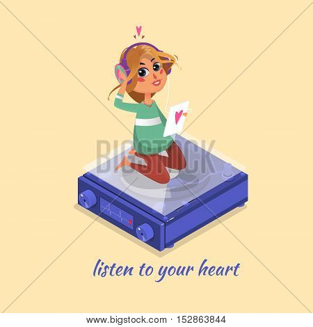Girl listening to music. Listen to your heart. Vector illustration