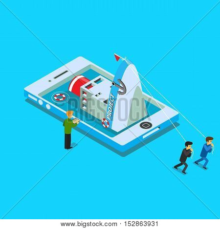 Flat design vector concept illustration. Businessmans pulling a heavy business on their shoulders . Vector clipart. Icons