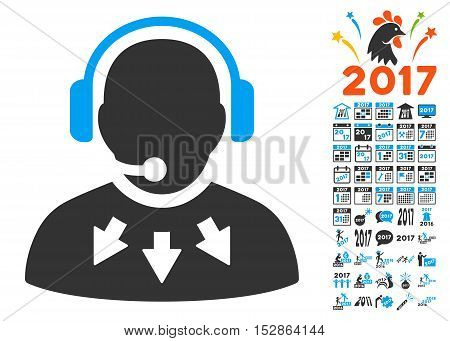Operator Message pictograph with bonus 2017 new year pictograph collection. Vector illustration style is flat iconic symbols, modern colors, rounded edges.