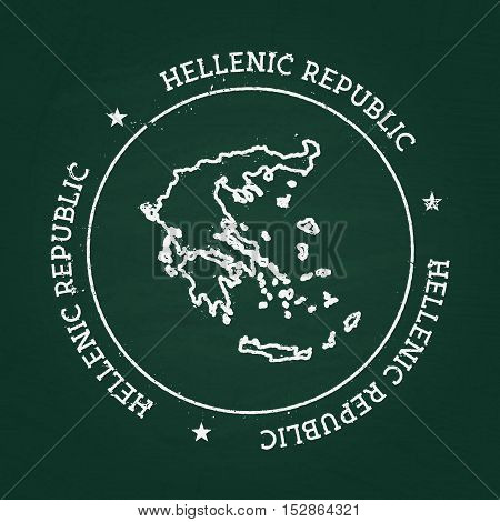 White Chalk Texture Rubber Seal With Hellenic Republic Map On A Green Blackboard. Grunge Rubber Seal