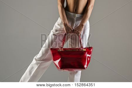 stylish female red handbag in grey background