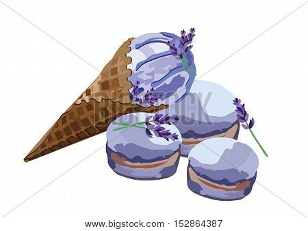 Vector Ice cream delicious cone and macaroons dessert Isolated on white background. lavender ice cream and macaroons