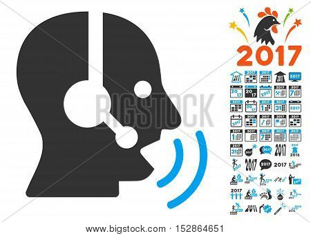 Operator Speech Sound Waves icon with bonus 2017 new year icon set. Vector illustration style is flat iconic symbols, modern colors, rounded edges.