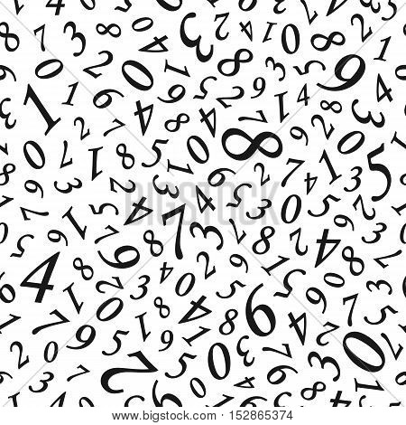 Vector seamless pattern. Abstract background with numbers. Black and white background.