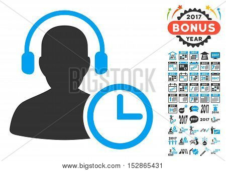 Operator Time pictograph with bonus 2017 new year pictures. Vector illustration style is flat iconic symbols, modern colors, rounded edges.