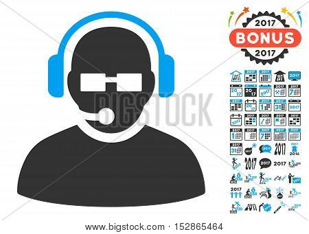 Operator pictograph with bonus 2017 new year graphic icons. Vector illustration style is flat iconic symbols, modern colors, rounded edges.