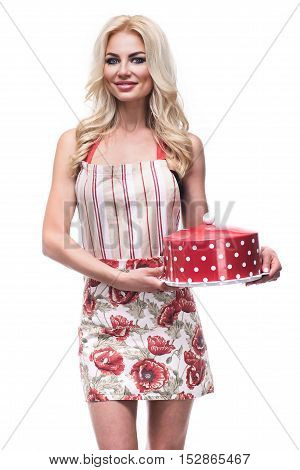 Beautiful Young Cook Woman Holding A Whole Cake, Isolated On White Background
