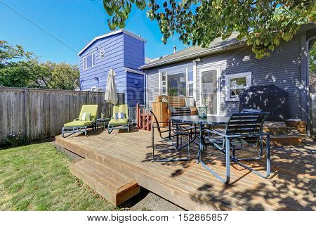 Photo Of Wooden Deck With Outdoor Furniture