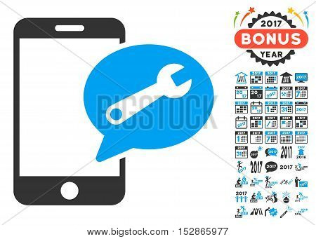 Phone Service SMS pictograph with bonus 2017 new year clip art. Vector illustration style is flat iconic symbols, modern colors, rounded edges.