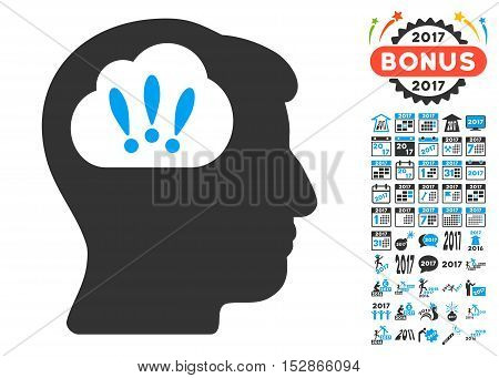 Problem Brainstorm pictograph with bonus 2017 new year design elements. Vector illustration style is flat iconic symbols, modern colors, rounded edges.