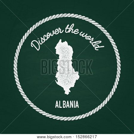 White Chalk Texture Vintage Insignia With Republic Of Albania Map On A Green Blackboard. Grunge Rubb