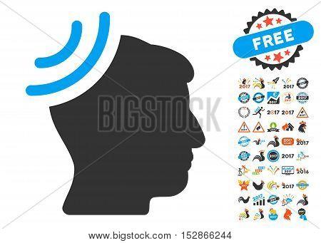 Radio Reception Brain icon with bonus 2017 new year design elements. Vector illustration style is flat iconic symbols, modern colors, rounded edges.
